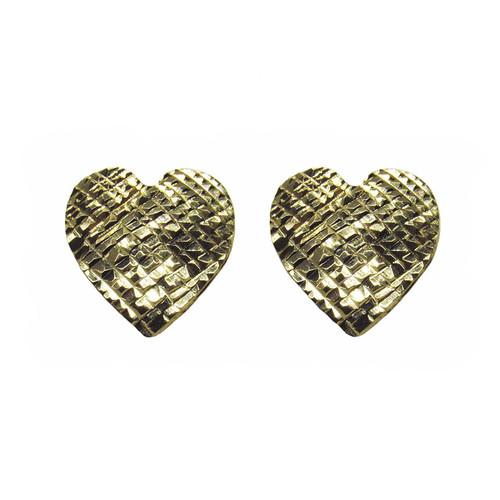 Brinco de ouro 18k coração trabalhado grande 12,20mm