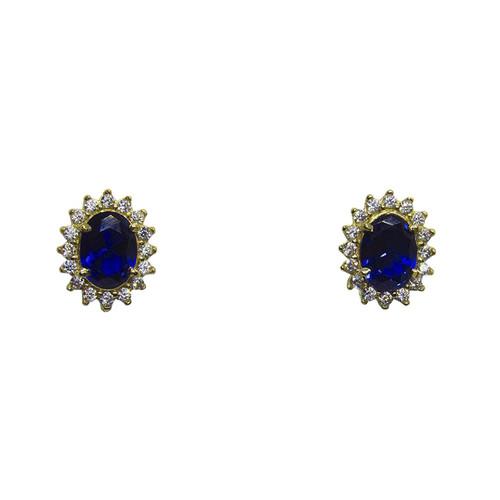 Brinco de ouro 18k com safira azul e zircônia branca 11,90mm