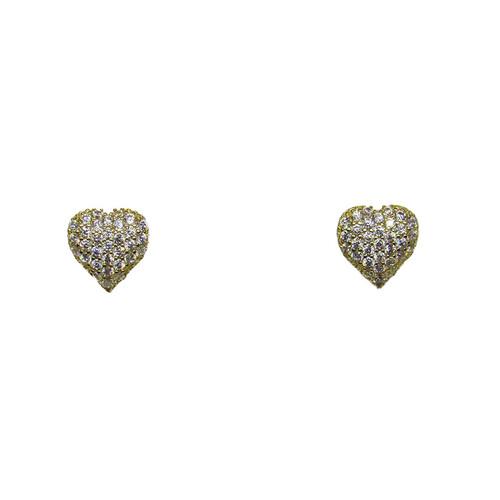 Brinco de ouro 18k coração com safira branca 9,35mm