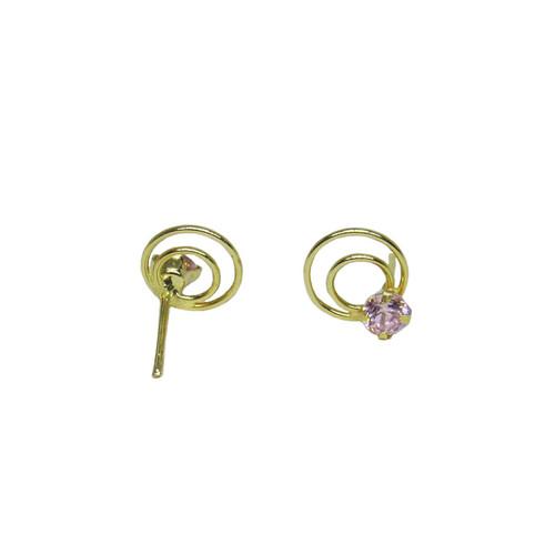 Brinco de ouro 18k infantil spiral zircônia 6,60mm