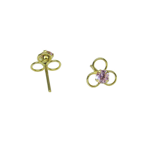 Brinco de ouro 18k infantil flor zircônia rosa 5,60mm