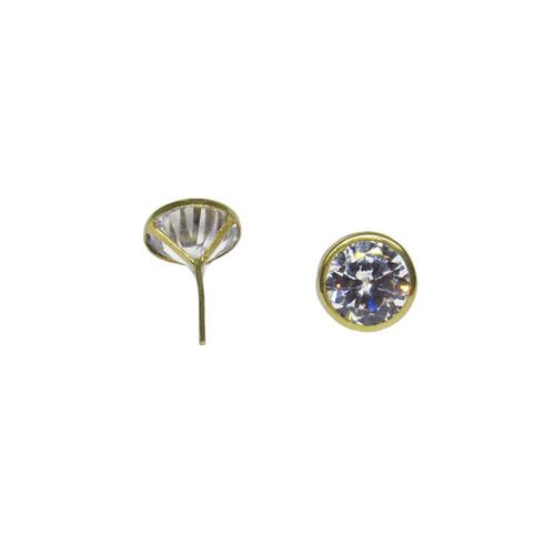 Brinco de ouro 18k com aro e zircônia branca 8,40mm