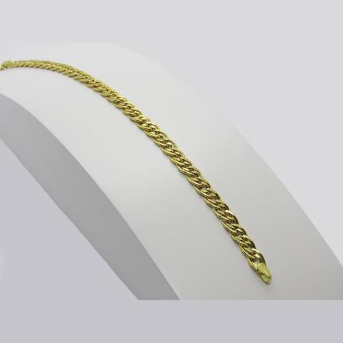 Pulseira de ouro 18k grumet dupla 4.50mm com 22cm