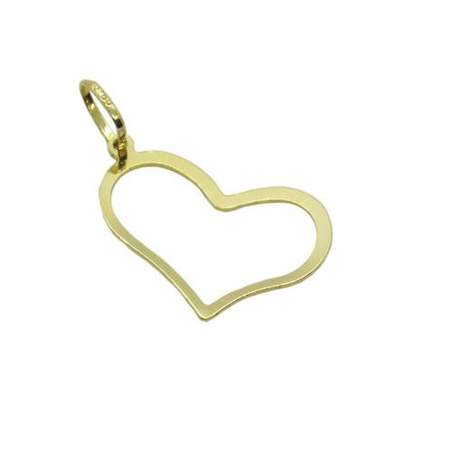 Pingente de ouro 18k coração vazado de lado 15,00mm