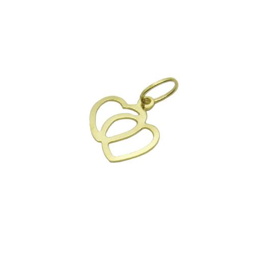 Pingente de ouro 18k coração vazado duplo 10,50mm