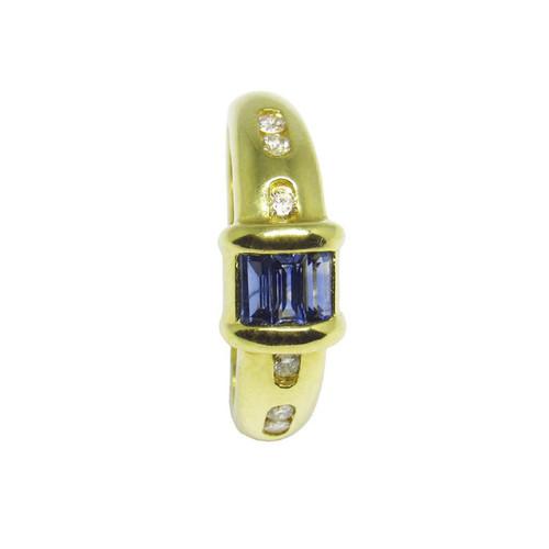 Anel de formatura de ouro 18k com brilhantes e safira azul 12 pts
