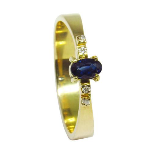 Anel de formatura de ouro 18k com brilhantes e safira azul 6 pts