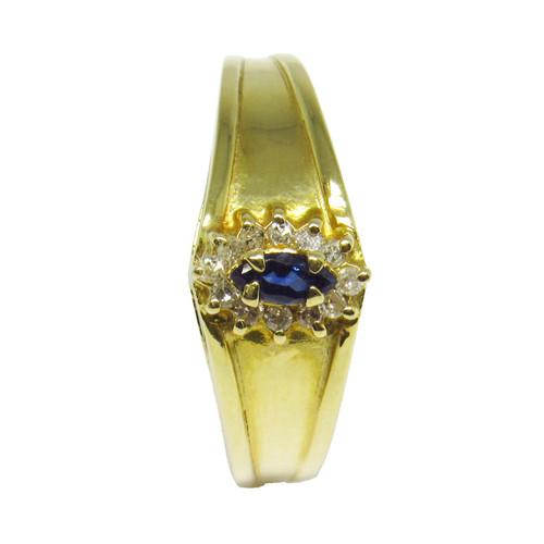 Anel de formatura de ouro 18k com brilhantes e safira azul 12 pts 7,85mm