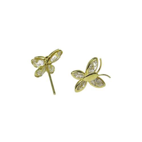 Brinco de ouro 18k infantil borboleta com zircônia 8,90mm