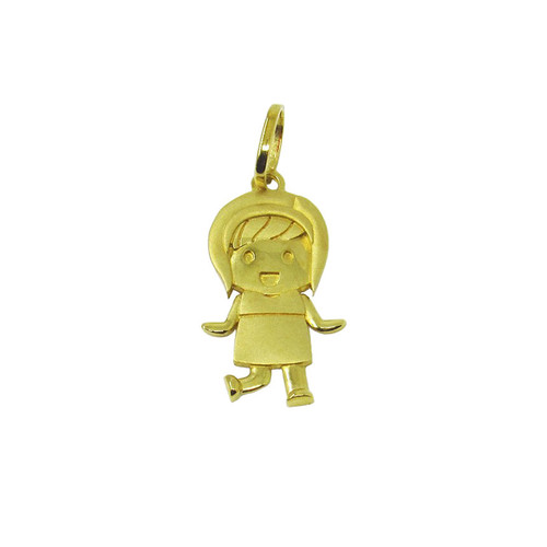 Pingente de ouro 18k menina 22,02mm
