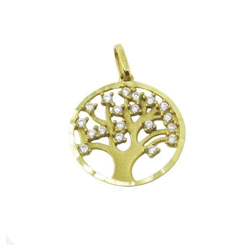 Pingente de ouro 18k árvore da vida com zircônia 14,60mm
