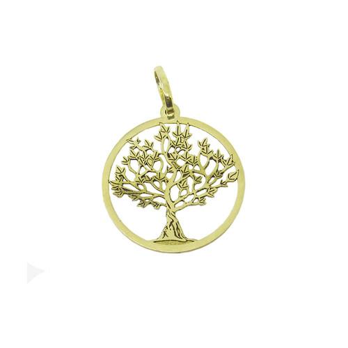 Pingente de ouro 18k árvore da vida a laser 15,00mm