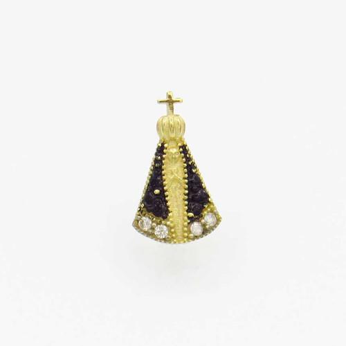 Pingente de ouro 18k nossa senhora com safira e brilhante 10,70mm