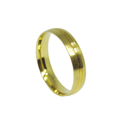 Aliança de ouro 18k anatômica maciça 5,2mm