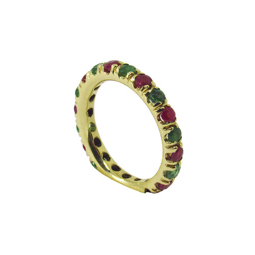 Aliança de ouro 18k anatômica com rubi e esmeralda natural 3,5mm