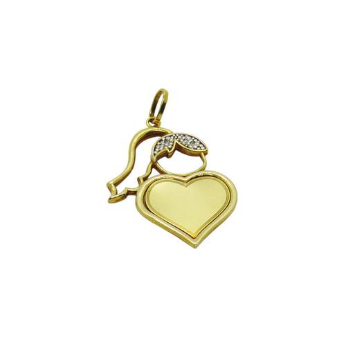Pingente de ouro 18k menina coração com brilhante 32,83mm
