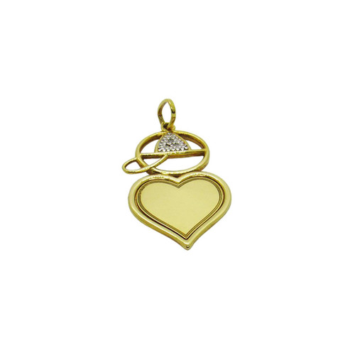 Pingente de ouro 18k menino coração com brilhante 31,36mm