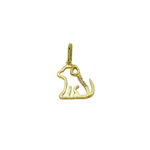 Pingente de ouro 18k cachorro com safira 22,68mm