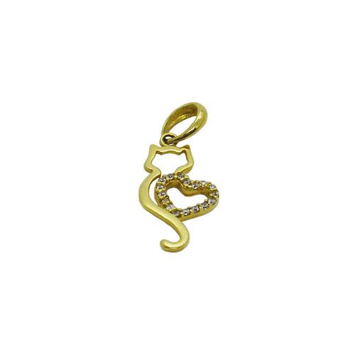Pingente de ouro 18k gato com coração e zircônia 25,00mm