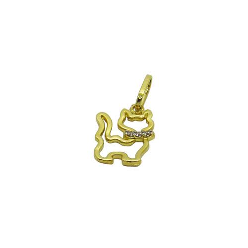 Pingente de ouro 18k gato pequeno com zircônia 17,57mm