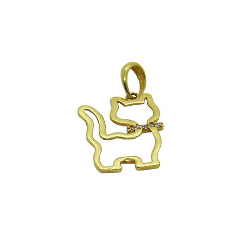 Pingente de ouro 18k gato grande com zircônia 24,78mm