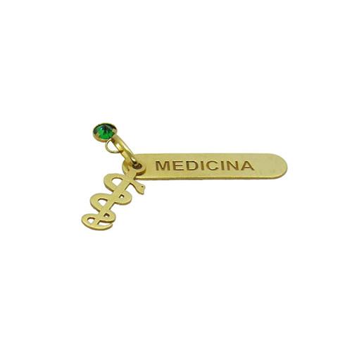 Pingente de ouro 18k medicina com turmalina sintético 26,20mm