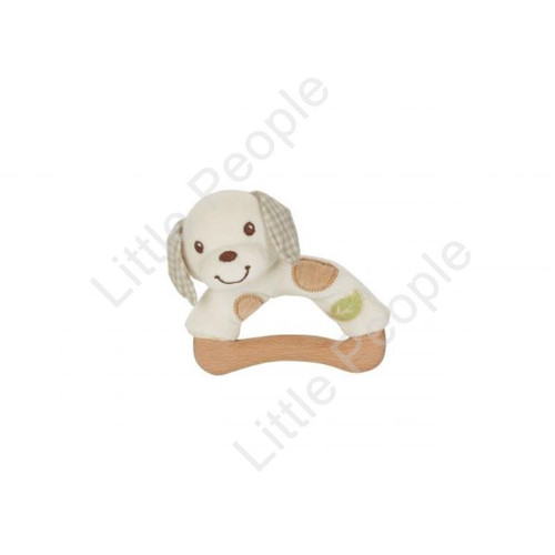 EverEarth Wooden & Plush Dog Rattle Kids Pretend Play Eco-Friendly