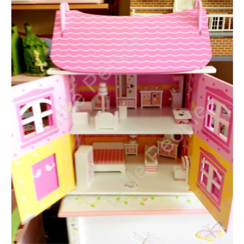 Pink Daisy Wooden 1:12th Scale Kids Play Dolls House With Furniture