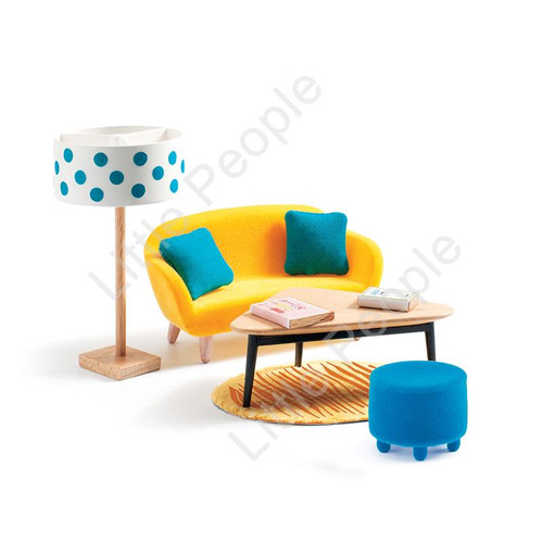 Djeco Modern Doll House Furniture Set - The Living Room
