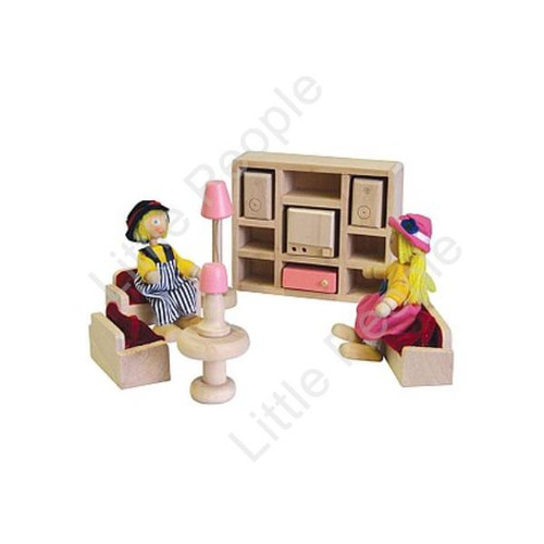 Painted Children Lounge Room Wooden Kids Play Doll House Toy Setting