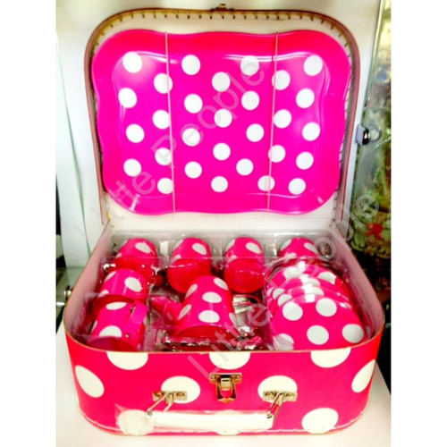 Just For Tea Pink & White Spotted 13 Piece Tin Pretend Play Tea Set