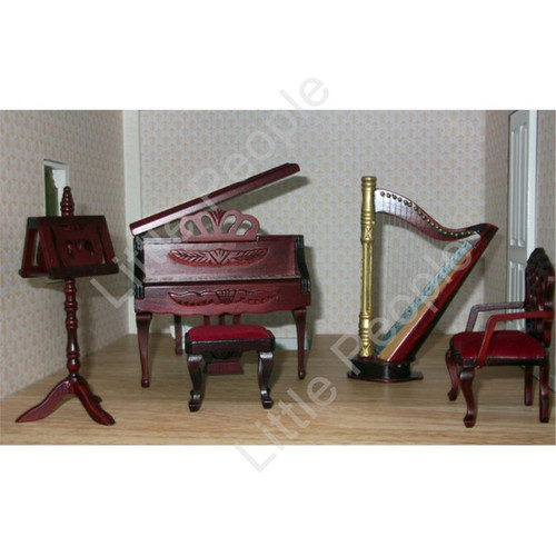 Dollhouse Hand Made Music Room 1:12th Scale Wooden Furniture Set