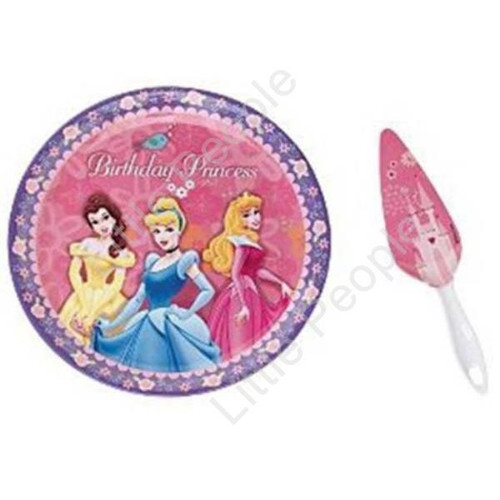 DISNEY  PRINCESS 2-Pc Set BIRTHDAY CAKE PLATE + SERVER  Princesses