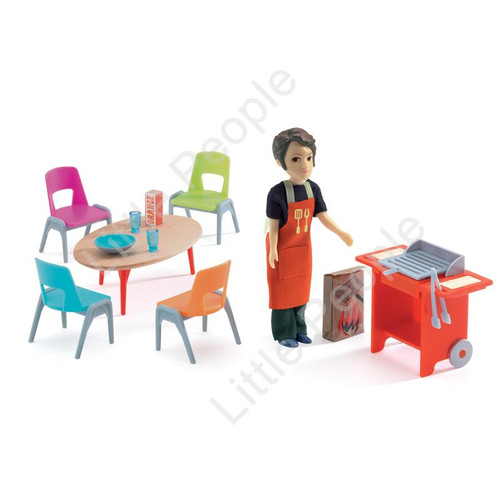 Djeco Modern Doll House  - Barbeque And Accessories