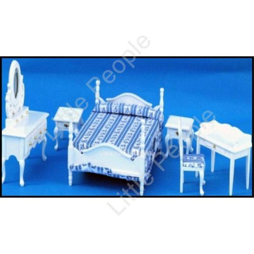 Dollhouse Furniture Double Bedroom Suite White 1:12th Scale Wooden Furniture Set