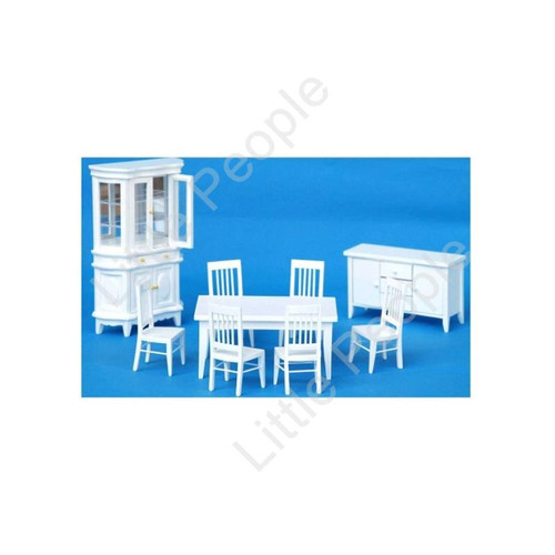 9 Piece White Dining Room Furniture Set White 1:12th Scale Wooden Furniture Set
