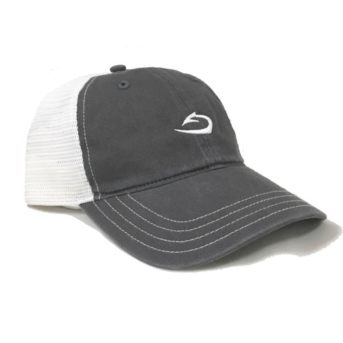 Harvest Tide Classic Low Profile Cap in Charcoal with White Mesh.