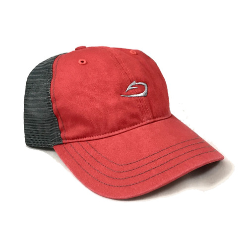 Classic low-profile harvest tide cap in red with charcoal mesh back.