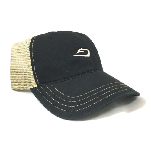 Classic low-profile Harvest Tide cap in black with tan mesh back.