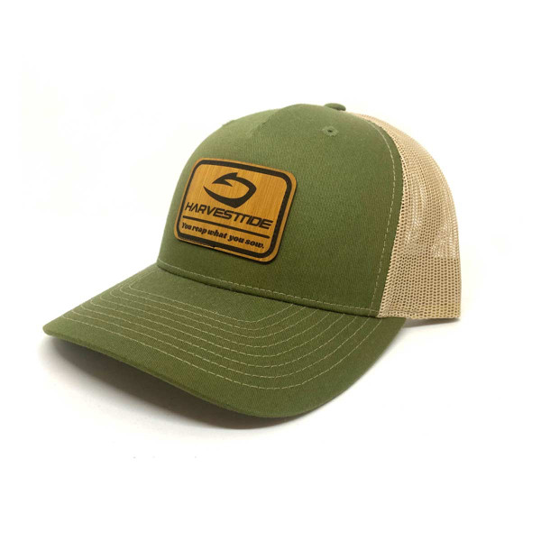 Five Panel Olive and Tan Mesh with bamboo styled patch.