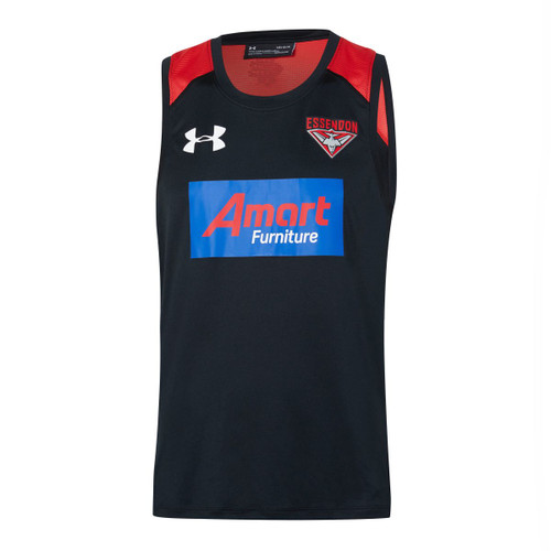 Essendon Bombers 2020 UA Mens Training Singlet  Black