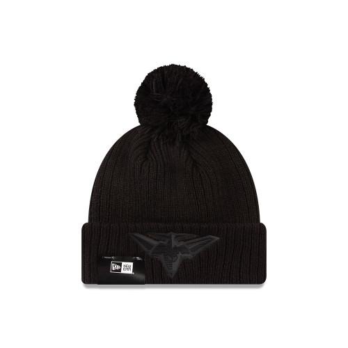 Essendon New Era Black on Black Cuff Knit Beanie