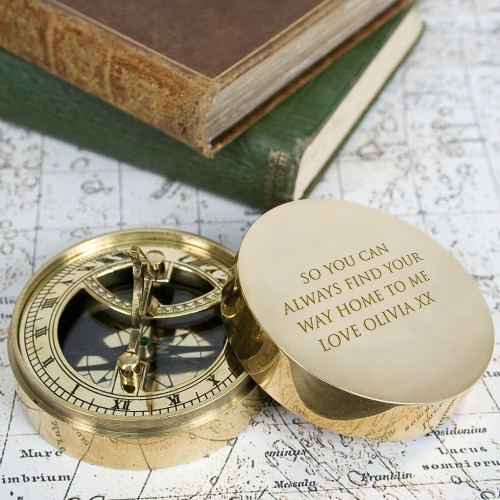 Personalised lovers brass compass and sundial