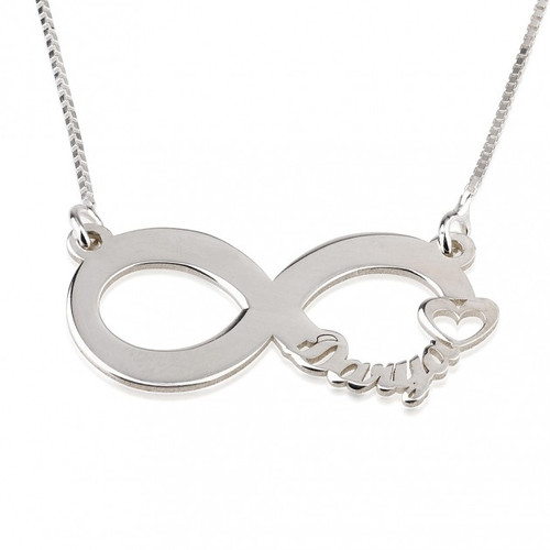 Personalised infinity heart silver necklace