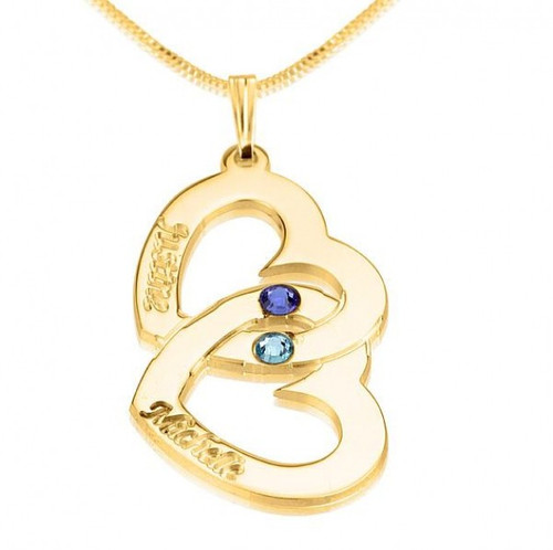 24K Gold Plated engraved two hearts pendant with your birthstones