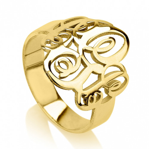 Personalized gold couples monogram ring