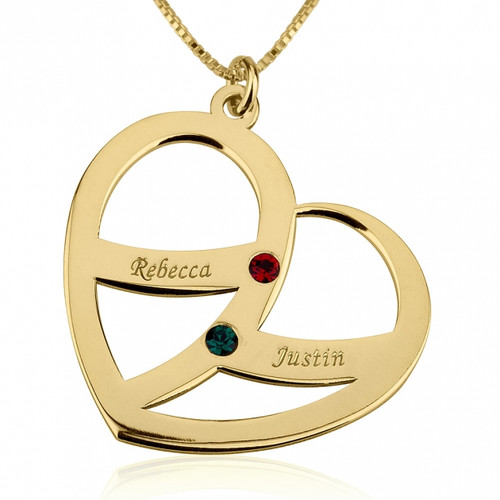 Classic Couple's Personalised Gold Heart Pendant