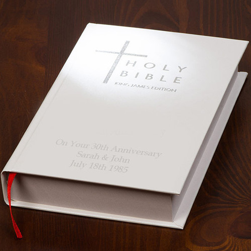 Personalised Couples Anniversary Bible in White with Silver lettering