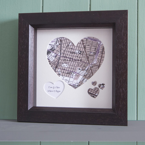 Personalised Heart map of your favourite place framed in dark wood