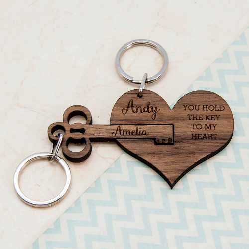 personalised couple's keyring - you hold the key to my heart